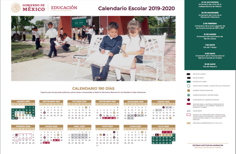 Calendario Fin 2020.Asi Sera El Calendario Escolar 2019 2020