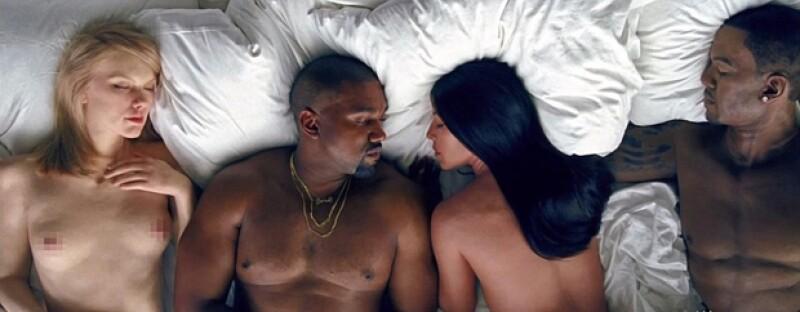 El video del cantante presenta a numerosas celebridades (sus dobles, en realidad) desnudas en una cama junto a Kim Kardashian y él mismo.