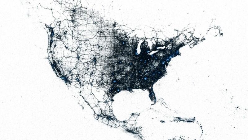 mapa de los tuits en norteamerica