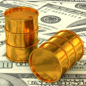 3d illustration: Golden barrels of oil lie on the background of dollar money. Petroleum business, black gold, gasoline production. Purchase sale, auction, stock exchange.