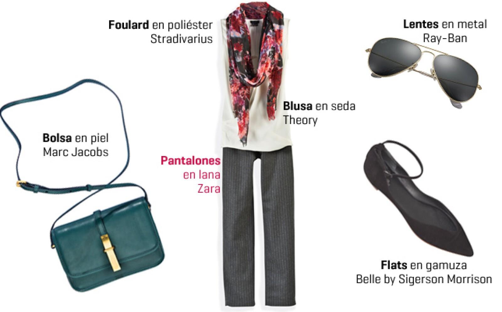 Contrarresta el aire masculino del pantalón con un top blanco sin mangas y un foulard con estampado floral. Combina el outfit con unos flats con punta.