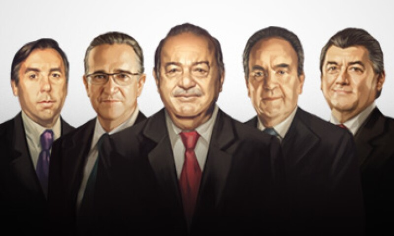 Emilio Azcárraga (16), Ricardo Salinas (9), Carlos Slim (1), Alberto Baillères (2) y José Antonio Fernández (3) son parte del ranking anual de la revista Expansión. (Foto: Especial)
