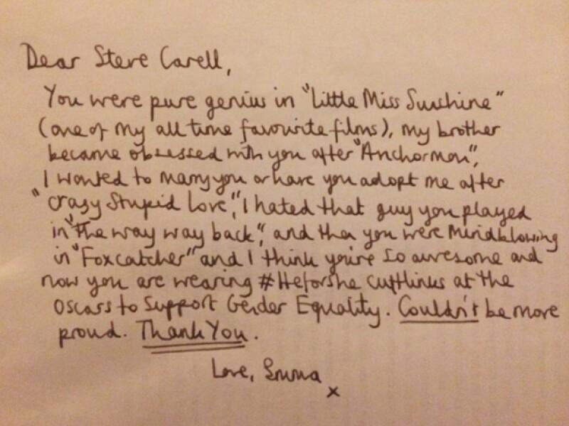 Emma hizo una descripción de sus papeles favoritos del actor en una sincera carta escrita a mano.