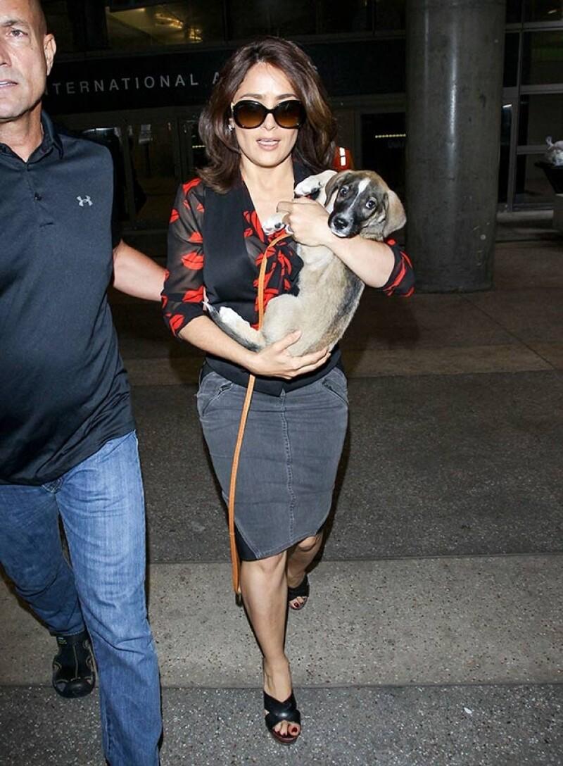 La actriz ha abandonado tierras búlgaras acompañada de un simpático perrito al que ha bautizado con el nombre de Ocho.