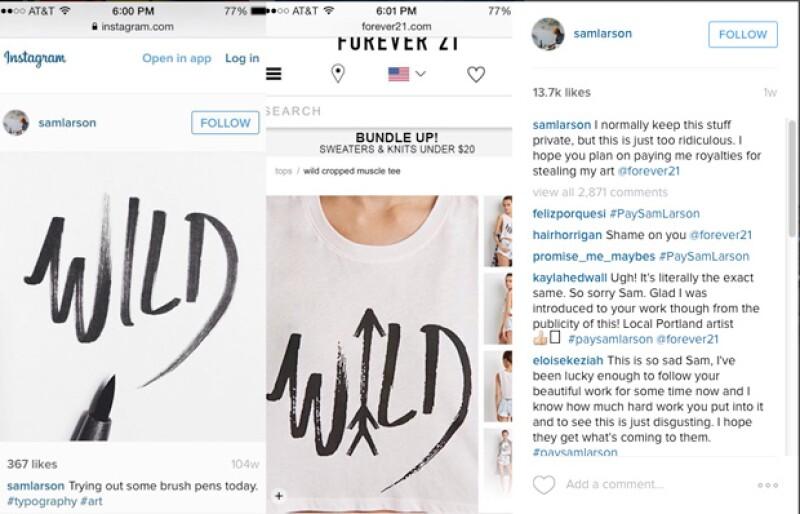 Un artista acusa a la cadena de fast fashion por haber robado su diseño en esta camiseta que tuvo tanto éxito, que ya se ha agotado.