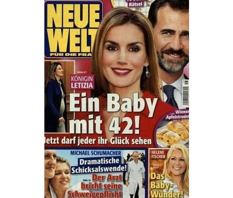 La revista Neue Welt señala en su portada que la reina de España espera su tercer hijo a los 42 años, y que el nuevo miembro de la familia llegará al mundo en abril.