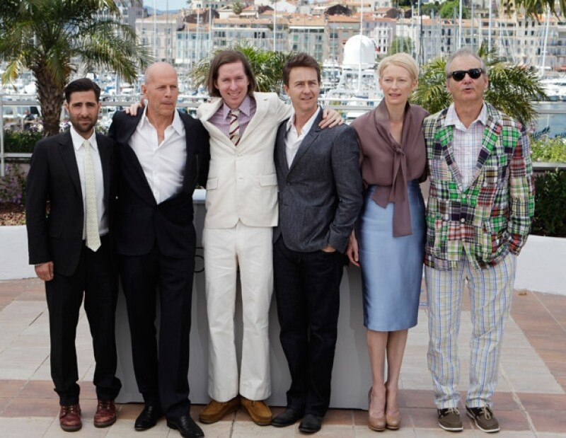 Jason Schwartzman, Bruce Willis, director Wes Anderson, and actors Edward Norton, Tilda Swinton, and Bill Murray.