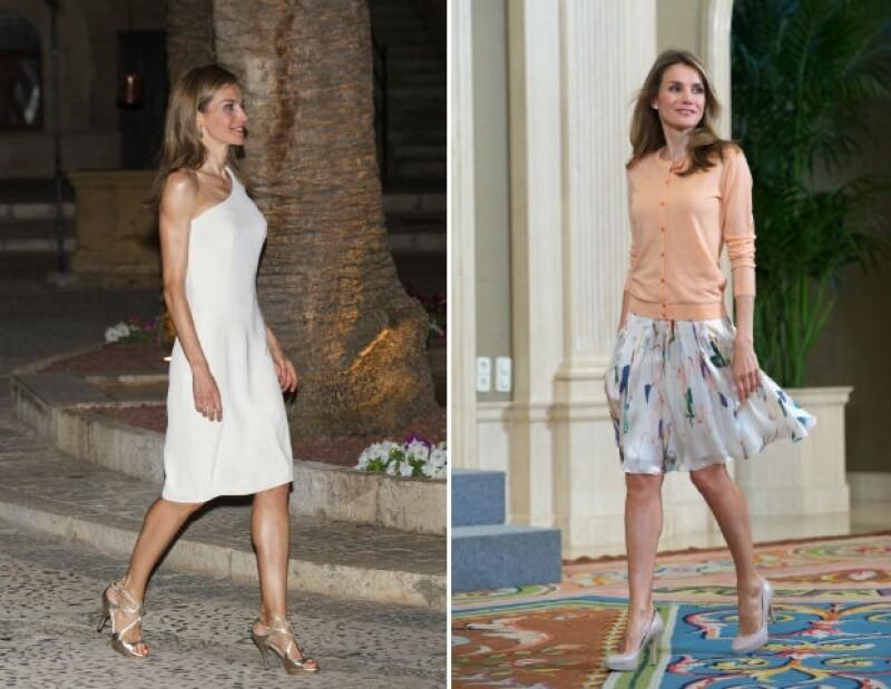 Durante un evento oficial en Mallorca, la reina de España apareció usando un vestido blanco asimétrico dejando ver que probablemente ha perdido más peso en los últimos meses.