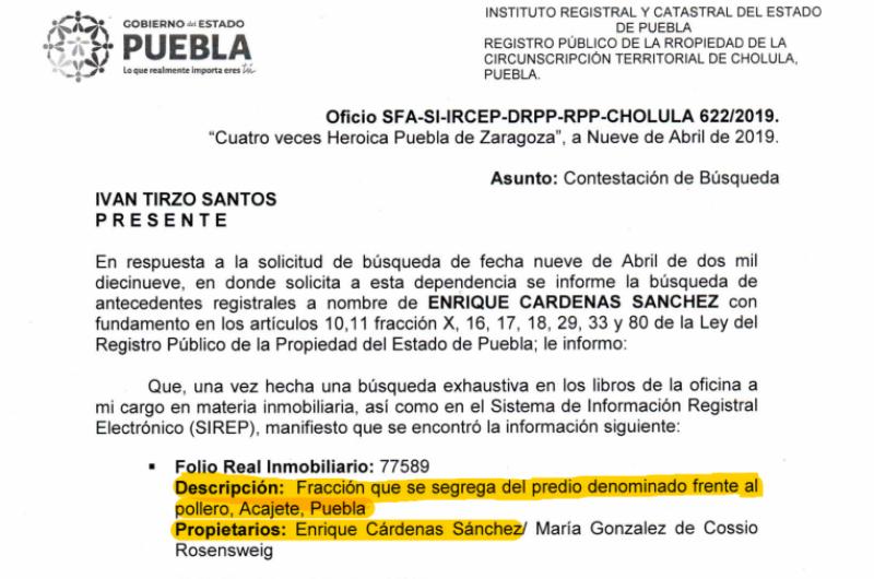 Solicitud de información al RPP de Puebla