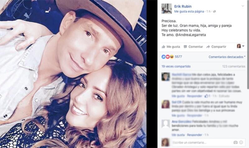 Érick Rubín compartió este mensaje por el cumple de Andrea Legarreta.
