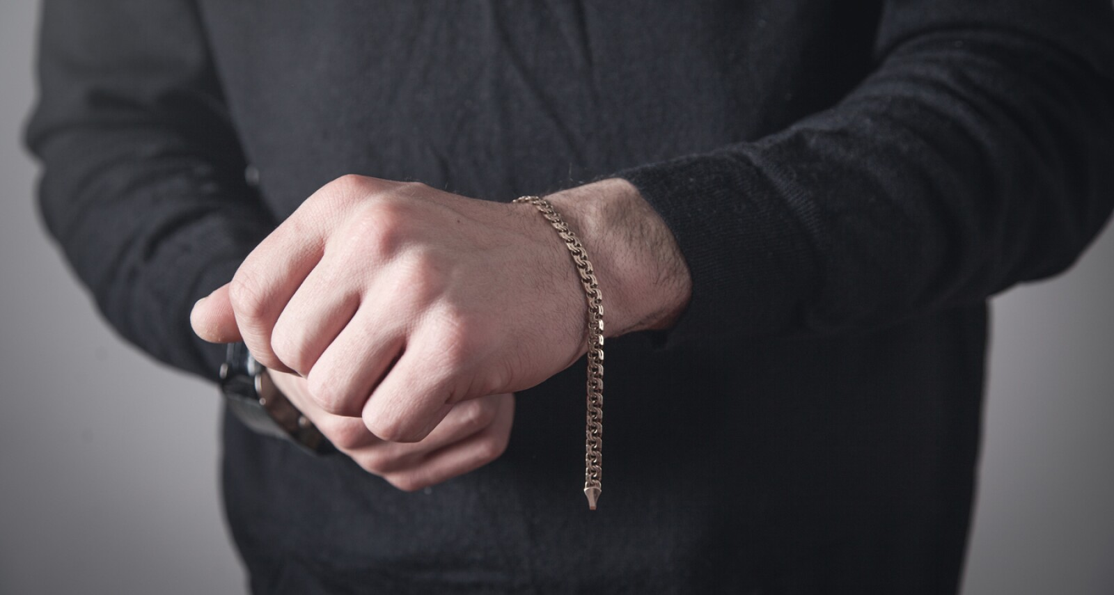 Man with a expensive bracelet. Fashion accessories and jewelry