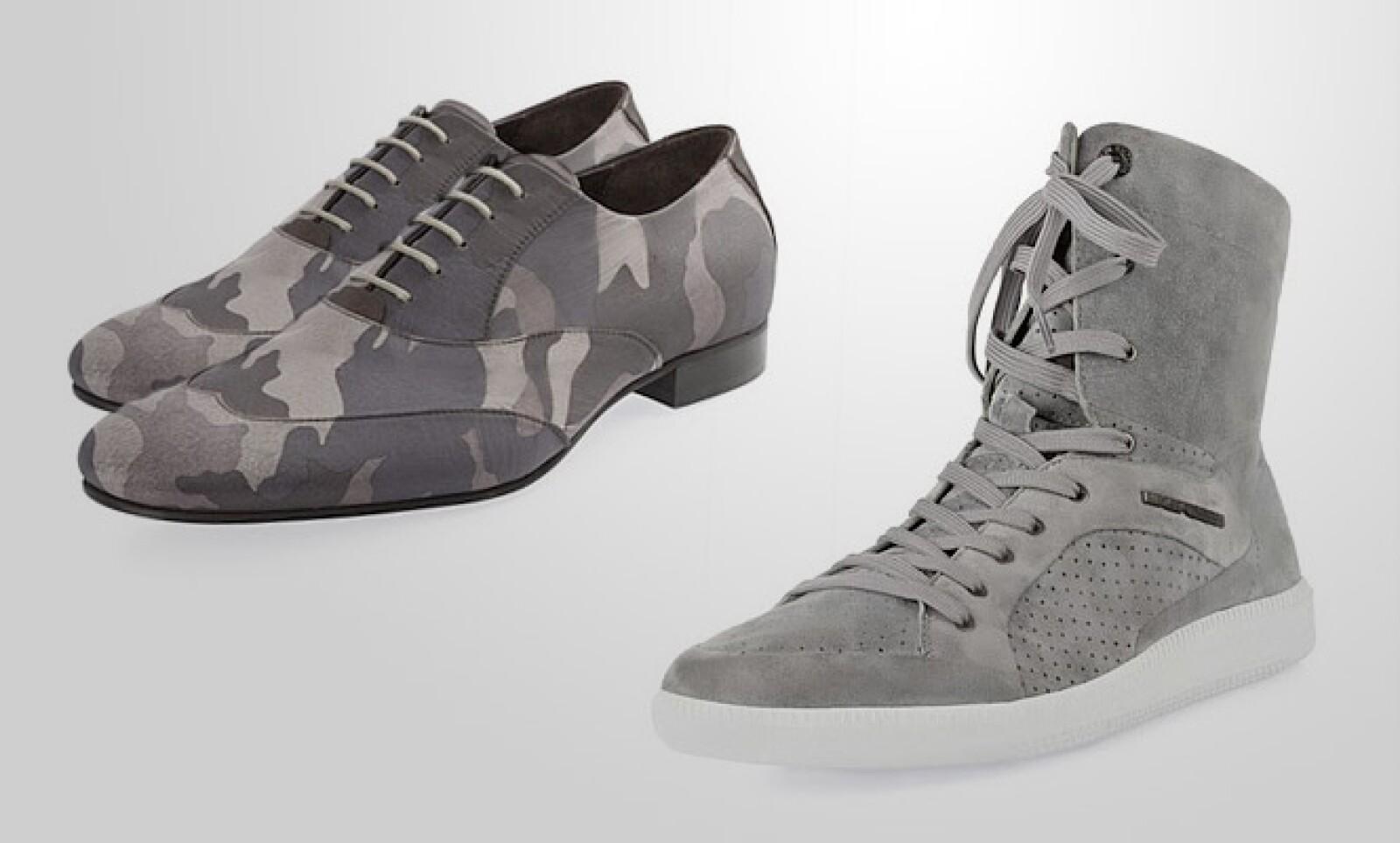 Para un look más casual, en donde los zapatos son los protagonistas, EA propone el camuflaje y tonos opacos.