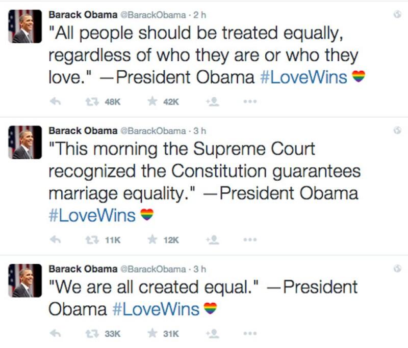 En varios tuits, el presidente emitió su discurso, luego de que se anunciara la noticia de la aprobación de los matrimonios gay.