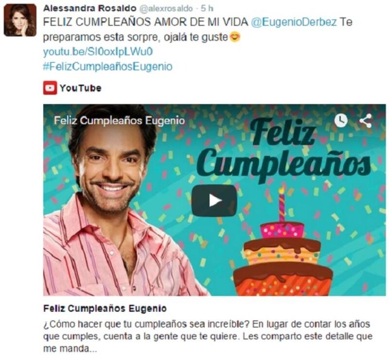 En un video compartido en las redes sociales aparecen Aislinn, Alessandra Rosaldo, Vadhir y José Eduardo Derbez, así como los amigos famosos del actor y sus fans felicitándolo en su día.