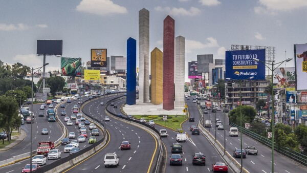 Iconic towers of Satelite City in Naucalpan, Mexico