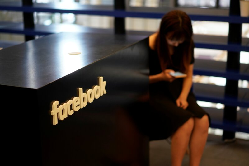 A Facebook sign is seen during the China Digital Entertainment Expo and Conference (ChinaJoy) in Shanghai