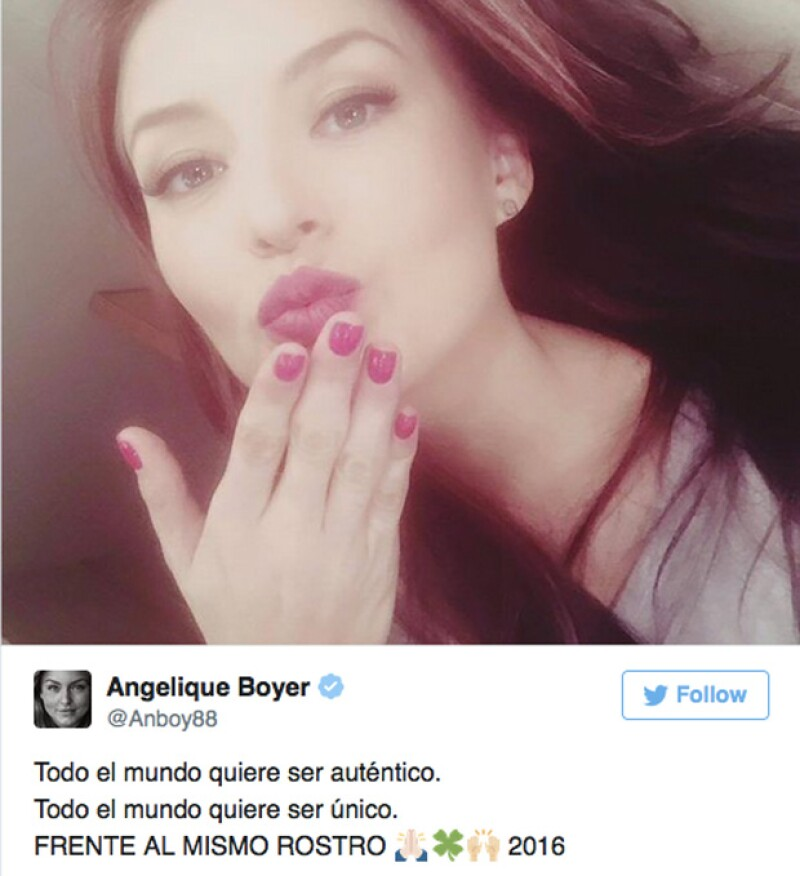 La actriz de origen francés compartió en Twitter que `Frente al mismo rostro´, es el proyecto en el que ella y su novio compartirán créditos.