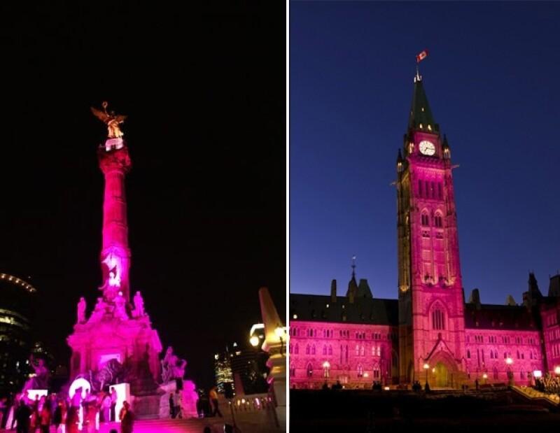 Así se pinta el Ángel de la Independencia en México y El Parlamento en Canadá.