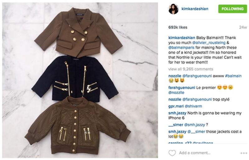 Desde que North tiene 1 año, Kim la viste con ropa hecha a la medida por el diseñador Oliver Rousteing.