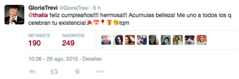 Amigas también desde muy jóvenes, Gloria Trevi compartió su felicitación en Twitter.