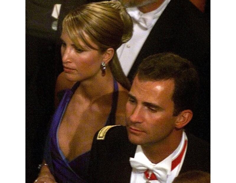Felipe de Borbón y Eva Sannum durante la boda del principe Haakon de Noruega.