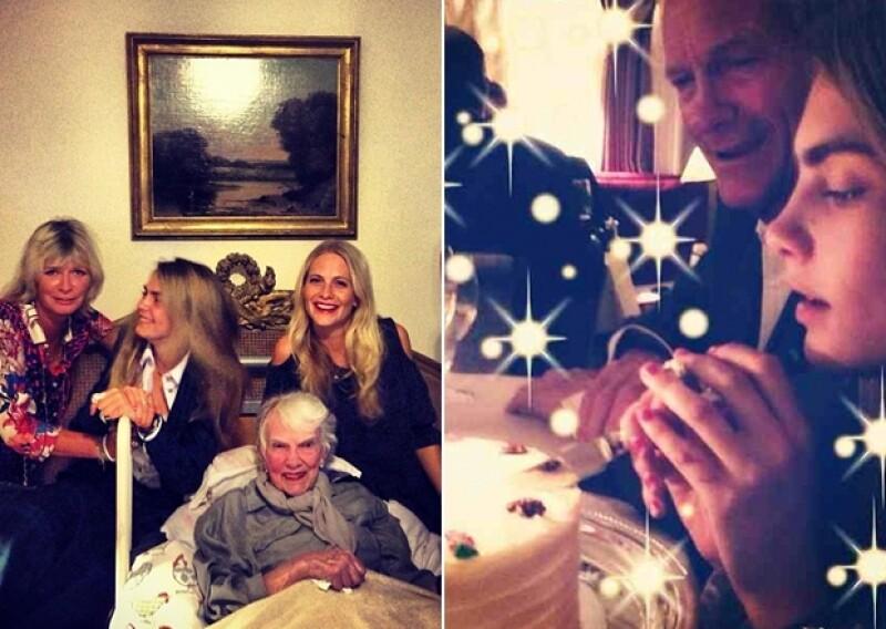 Cara también festejó su cumpleaños con su familia, con una íntima cena y un lindo pastel de cumpleaños.