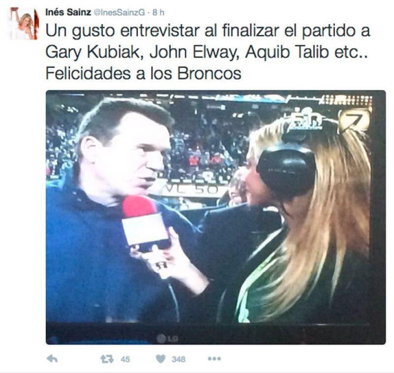 Inés probó que sí logró entrevistar a los jugadores tras el encuentro.