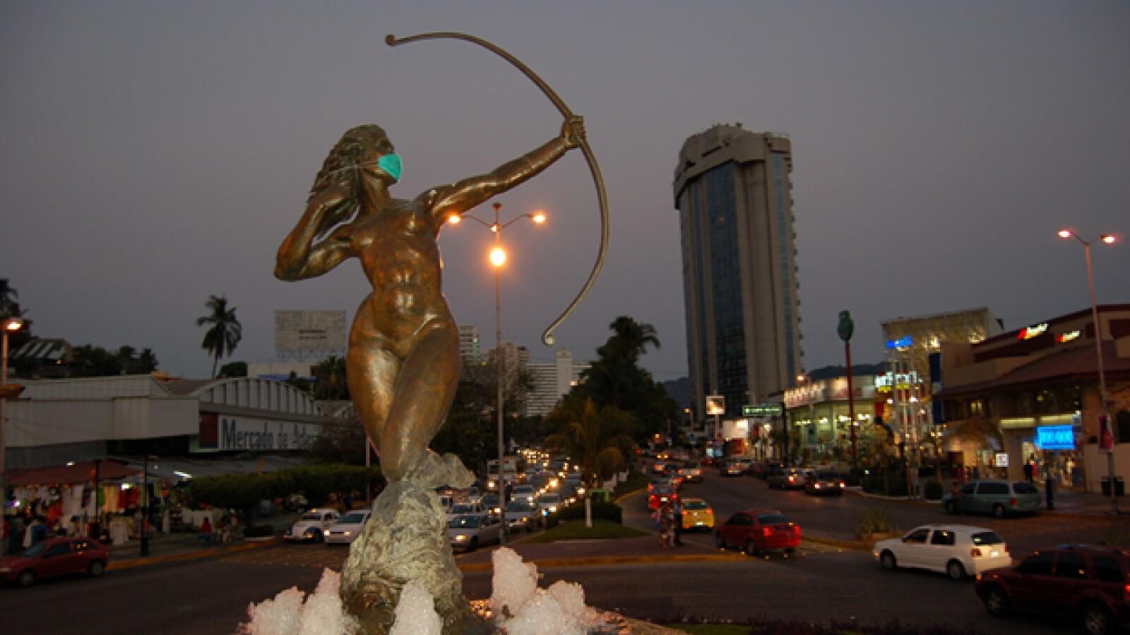 La diana en acapulco Guerrero con cubrebocas