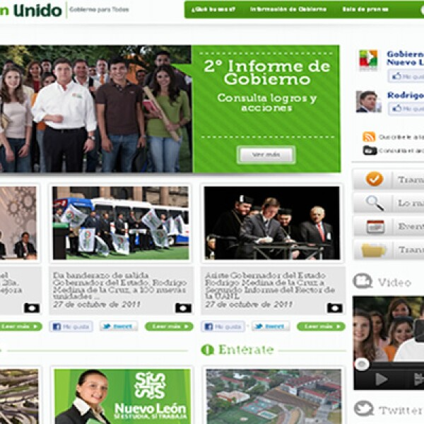 El portal del gobierno del Estado de Nuevo León ofrece a los ciudadanos nuevos espacios de interacción, colaboración y retroalimentación. Pertenece a la categoría 'e-Gobierno', en la cual sólo se presentaron dos finalistas.