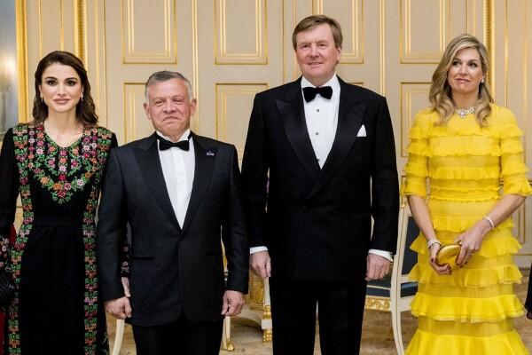 Rania de Jordania, rey Abdalá II, rey Guillermo Alejandro y Máxima de Holanda