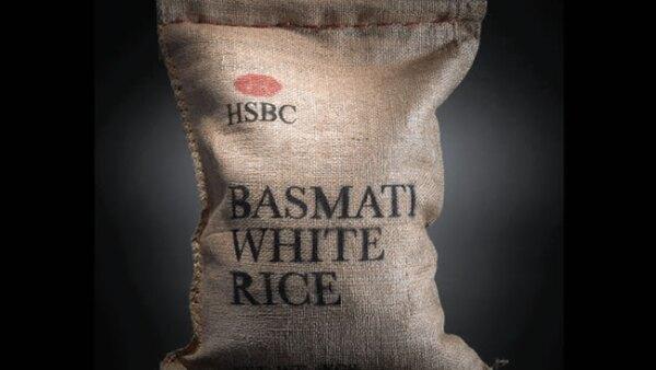 Arte de Peddy Mergui. Sacos de arroz HSBC