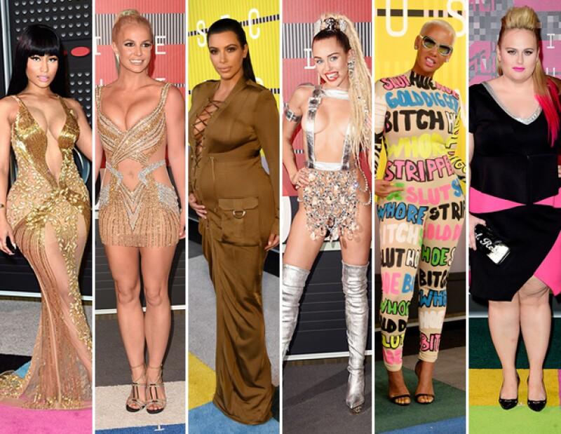 Consideramos que Nicki Minaj, Britney Spears, Kim Kardashian-West, Miley Cyrus, Amber Rose, y Rebel Wilson fueron las peor vestidas de la noche.