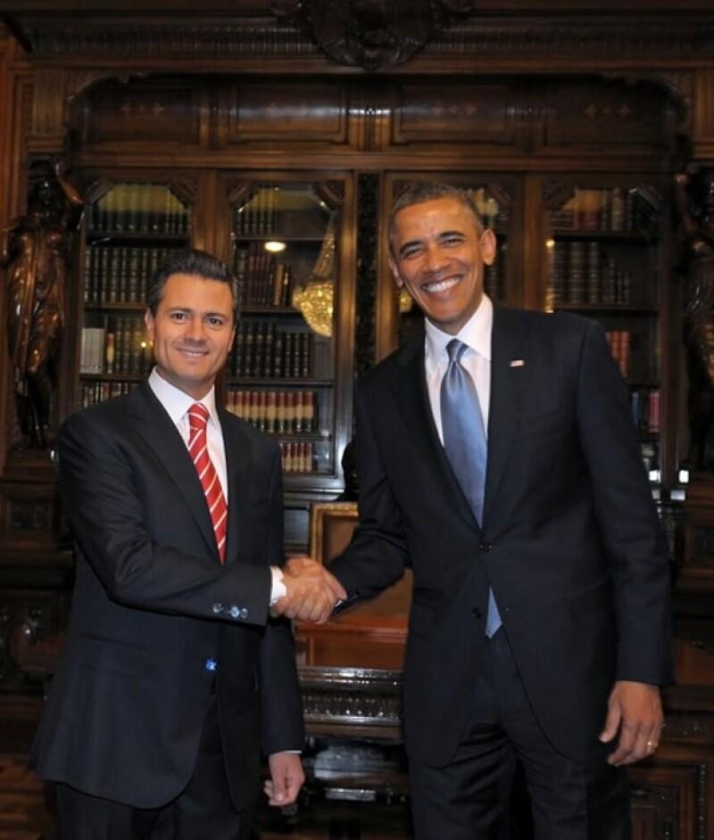 Barack Obama y Enrique Peña Nieto en Palacio Nacional.
