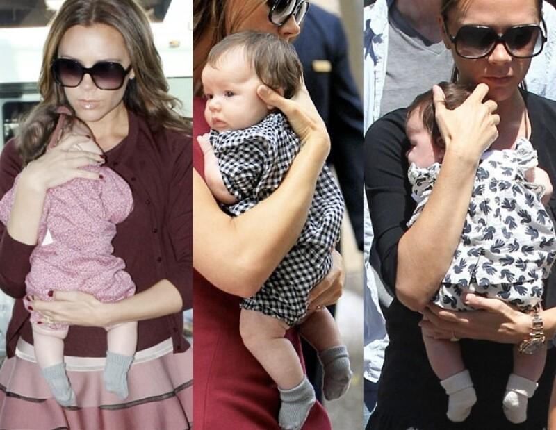 La hija más pequeña de los Beckham luce como toda una mini fashionista y a su corta edad no sale de casa si no es bien arreglada, y tiene de dónde pues su mamá, Victoria, es el mejor ejemplo.