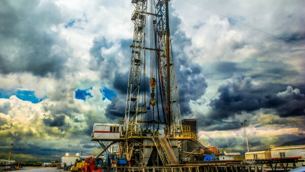 Drilling on the geothermal well platform and Equipments on a cloudy day