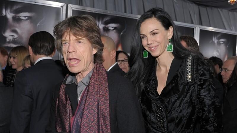 Mick Jagger junto a su pareja L'Wren Scott en febrero de 2010