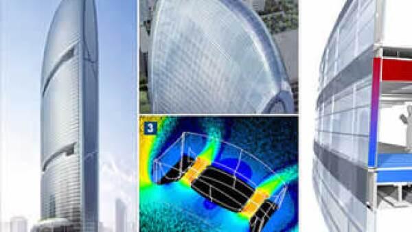 1. La Torre Pearl River 2. Paneles solares en el techo 3. Turbinas de viento generadoras de electricidad 4. Absorbiendo calor del sol. (Foto: Cortesía Fortune)
