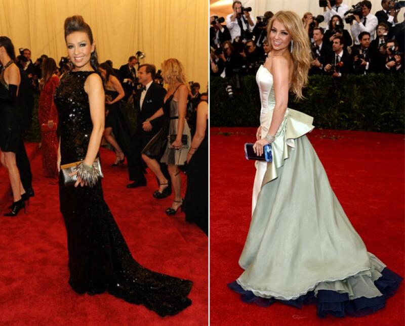 Thalía en la gala de Met en 2011 (izquierda) y 2014.