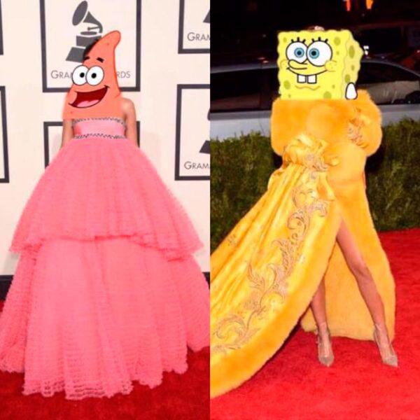 Incluso recordaron el vestido que lució en los Grammy 2015 y compararon ambos con los personajes de caricatura Bob Esponja.