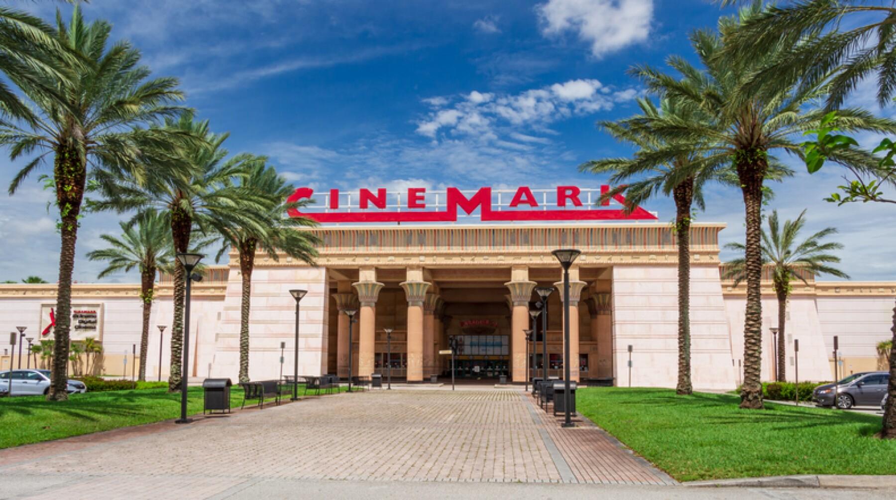 Exterior of Cinemark Paradise 24 movie theater with Egyptian theme - Davie, Florida, USA