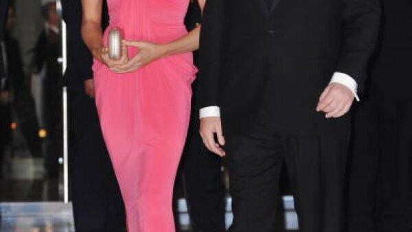 Alberto y su todavía novia en el Grand Prix de Mónaco.