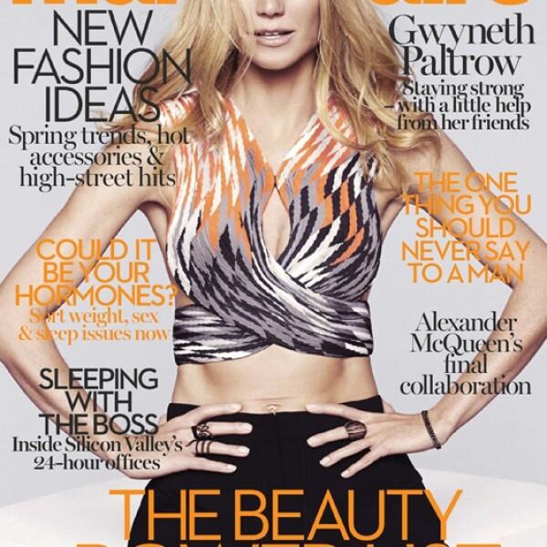 Luciendo increíble, Gwyneth Paltrow presume un súper abdomen en la portada de Marie Claire UK, fotografiada por Jan Welters.