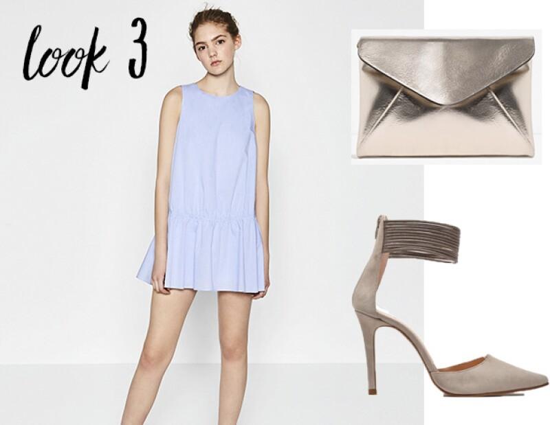 Look 3: Vestido y clutch Zara. Zapatos PRADA MÉXICO
