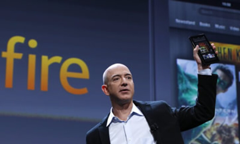 Jeff Bezos presumió los nuevos equipos de Amazon en Nueva York. (Foto: Reuters)