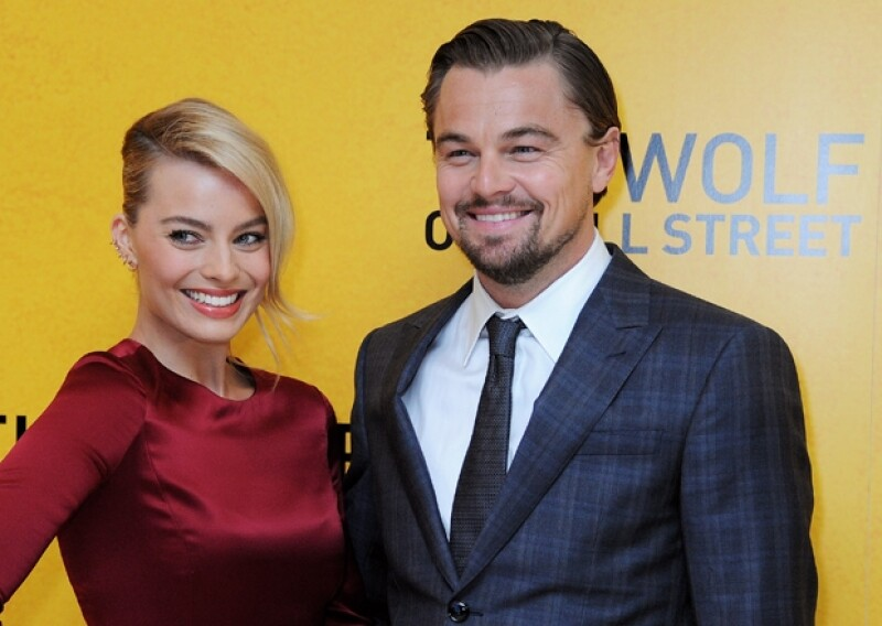 Margot Robbie y Leonardo DiCaprio en la premiere de `The Wolf of Wallstreet´.