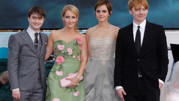 Daniel Radcliffe, J.K Rowling, Emma Watson, Rupert Grint