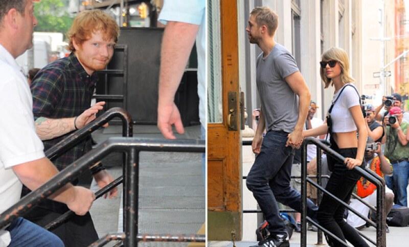 La pareja y Ed Sheeran fueron a comer, pero él iba detrás de ellos, a manera de camuflaje con los guardaespaldas.