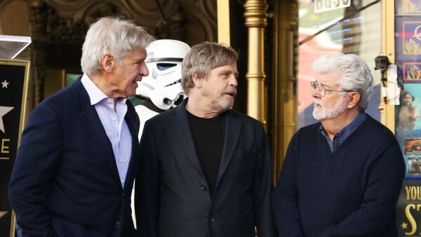 Harrison Ford, Mark Hamill y George Lucas