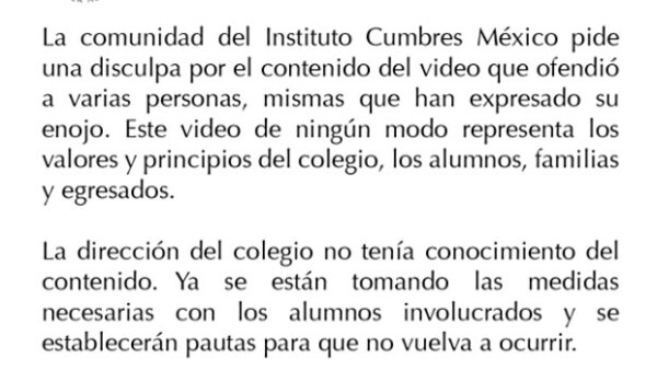 A tan sólo dos días de ser publicado el polémico video, el instituto se disculpó por el clip a través de un comunicado.