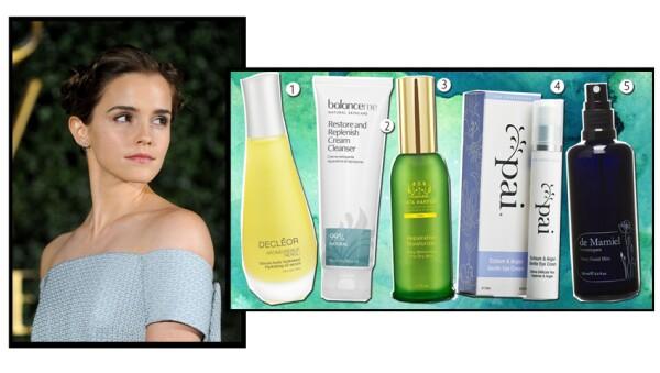 Emma se prepara la piel con estos productos.